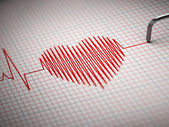 ECG. Electrocardiogram and heart beat shape. — Foto Stock