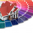 Construction concept. House and color palette. — Stock Photo