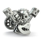 Engine concept. Gears and pistons. — Stock Photo