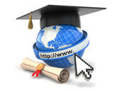 E-learning. Globe, diploma and mortar board. — Stock fotografie