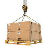 Cargo delivery. Pallet with cardboards lifted by crane. — Stock Photo