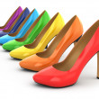 Stock Photo: High heels shoes on white background.