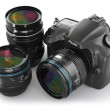 Digital slr camera with lens. Photography equipment. — Stock Photo