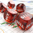 Stock market concept. Dice on financial graph. — Stock Photo #39964667