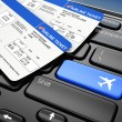 Stock Photo: Online booking airplane tickets. 3d