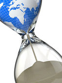 Earth in hourglass. Conceptual image destruction of the world. — Stock Photo