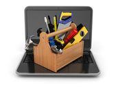 Online podpora. laptop a nástrojů. 3d — Stock fotografie