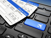Online booking airplane tickets. 3d — Stock Photo