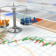 Stock market concept. Scale on financial graph. — Stock Photo #40421703