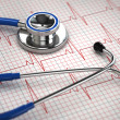 Stock Photo: Stethoscope and ECG cardiogram. Medicine concept,