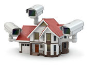 Security CCTV camera on the house. — Stock Photo