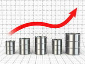 Growth of oil or petrol price. Barrels and graph. — Stock Photo
