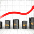 Growth of oil price. Barrels and graph. — Stock Photo #40901879