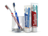 Dental protection, Toothpaste and toothbrushes. — Stock Photo