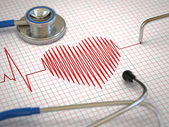 Stethoscope and ECG cardiogram. Medicine concept, — Stock Photo