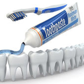 Dental protection, Teeth, toothpaste and toothbrushes. — Stock Photo