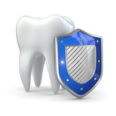 Teeth protection concept. Shield and tooth. — Stock Photo