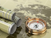 Gold compass on world map background. — Stock Photo
