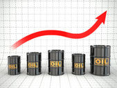 Growth of oil price. Barrels and graph. — Stock Photo