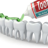 Dental protection, Teeth and toothpaste — Stock Photo
