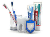 Dental protection, Tooth, shield, toothpaste and toothbrushes. — Stock Photo