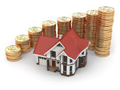 House and graph from coins. Real estate increasing. — Stock Photo