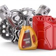Engine, motor oil canister and jerrycan. — Stock Photo #41808355