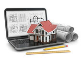 Laptop, house and blueprint with project. — Stockfoto
