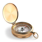Gold compass on white isolated background. — Stock Photo