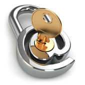 E-mail protection. At as lock and key. — Stock Photo