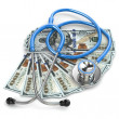 Health insurance. Stethoscope on dollar banknotes. — Stock Photo