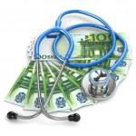 Health insurance. Stethoscope on euro banknotes. — Stock Photo