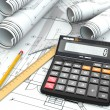 Concept of drawing. Blueprints, drafting tools and calculator. — Stock Photo