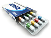 Health concept. Vitamin pills in box. — Stock Photo