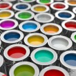 Background from multi color cans of paint — Stock Photo