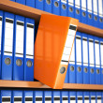 Office file binders on shelf. Archive. — Stock Photo #44494099