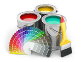 Cans of paint with colour palette and paintbrush. — ストック写真