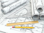Concept of drawing. Blueprints and drafting tools. — Stock Photo