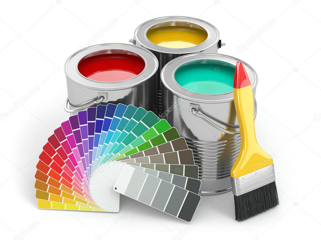 Pots de peinture avec la palette de couleurs et pinceaux photographie maxxy - Nettoyer des pinceaux de peinture ...