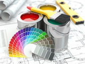 Construction. Cans of paint with colour palette and paintbrush. — Stock Photo