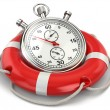 Fast first help. Stopwatch in lifebuoy. 3d — Stock Photo #45334685