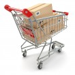 Shopping cart with boxes on white isolated background — Stock Photo #45934183