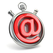 Stopwatch and symbol of e-mail. Online support. — Stock Photo
