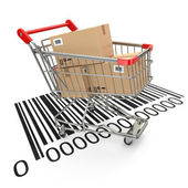 Shopping cart with purchases on bar code. — Stock Photo