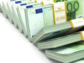 Row of packs of euro. Lots of cash money. — Stock Photo