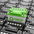 Car battery recycling. Green energy. Background from accumulator — Stock Photo