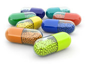 Pills and drugs on white isolated bacground. Medical concept. — Stock Photo