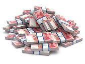 Pile of packs of yuan. Lots of cash money. — Stock Photo