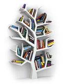 Tree of knowledge. Bookshelf on white background. — Stock Photo