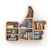 Education concept. Bookshelf with books as like symbol. — Stock Photo